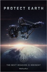 poster showing orbital Battle School from Ender's Game