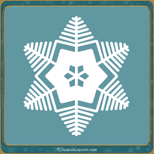 fern-like snowflake on green background