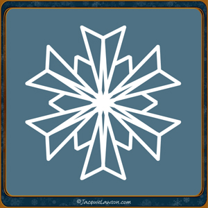 non-traditional snowflake on blue background
